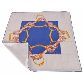 New Gucci Women's 352213 Square Silk Blue Beige Interlocking GG Twill Neck Scarf