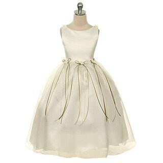 Kids Dream Little Girls Ivory Rosebud Organza Flower Girl Dress 2-6
