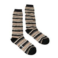 Missoni GM00CMD5221 0004 Tan/Black Mixed Stripe Knee Length Socks - M