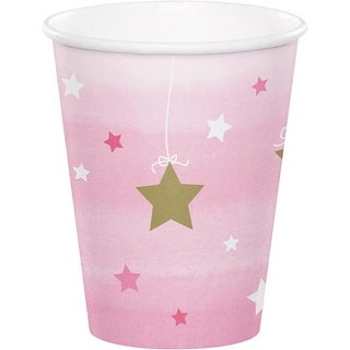 Club Pack of 96 Pink and White Decorative One Little Star Hot Cold Cups 5.6