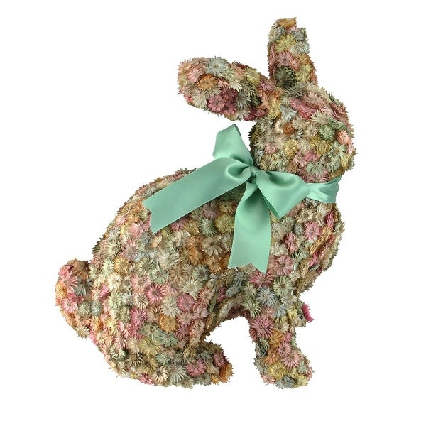 """12.5"""" Multi-Colored Flowered Sitting Bunny Rabbit Spring Tabletop Decoration - Green"""