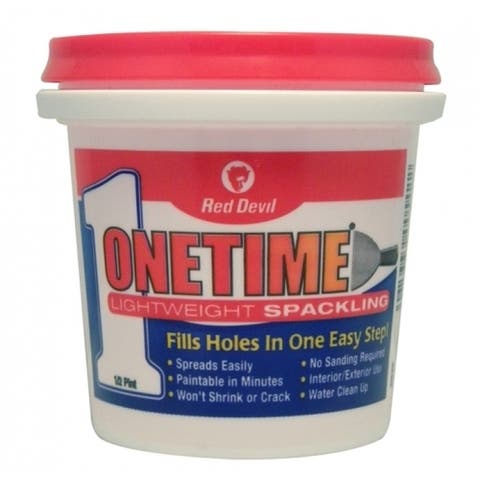 Red Devil 0542 Onetime Lightweight Spackling, Pre-Mixed Formula, 1/2 Pint