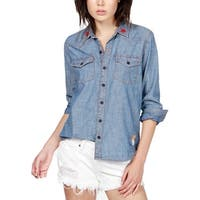 Lucky Brand Womens Western Top Denim Embroidered - XS