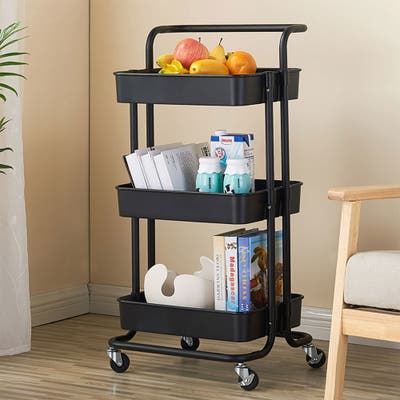 Home Kitchen 3-tier Metal and ABS Storage Utility Cart