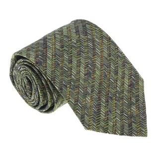 Missoni U5099 Green/Gold Chevron 100% Silk Tie - 60-3