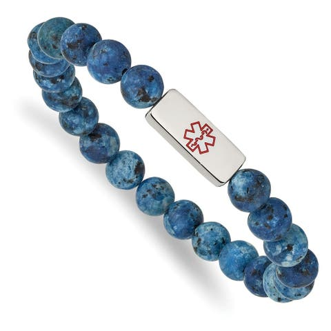 Chisel Stainless Steel High Polished Medical ID Plate Lapis Bead Stretch Bracelet