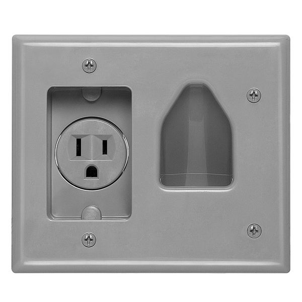 DataComm 45-0021-GY Recessed Low-Voltage Cable Wall Plate With Recessed AC Power - Gray