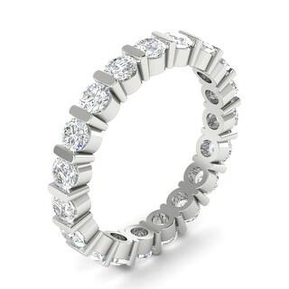 1.50 ctw Bar-Set Round Cut Diamond Eternity Weddin Band 14kt White Gold