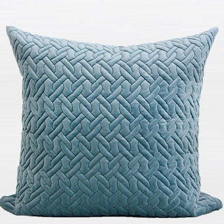 "G Home Collection Luxury Sky Blue Braid Textured Quilting Pillow 24""X24"""