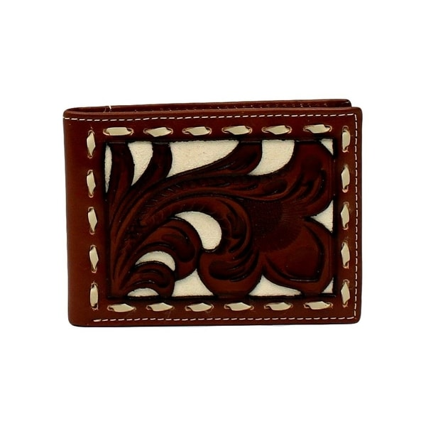 Nocona Western Wallet Mens Clear ID Lacing Tooled Bifold Tan - 3 1/4 x 4 1/4