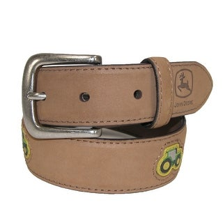 John Deere Kids' Crazy Horse Leather Belt with Tractor Patches - Tan