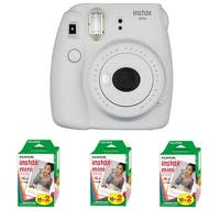Fujifilm Instax Mini 9 (Smokey White) + 3 x Instant Film Double Pack