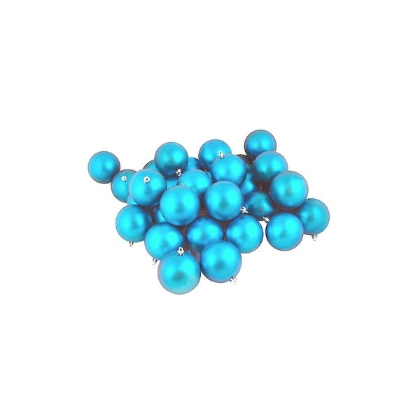 """32ct Matte Turquoise Blue Shatterproof Christmas Ball Ornaments 3.25"""" (80mm)"""