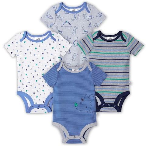 Just Born® Baby Boys' 4-Pack Organic Short Sleeve Lil' Dino Bodysuits - Blue/Gray