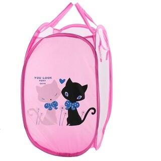 Portable Cat Pattern Folding Pop up Laundry Mesh Washing Basket Storage Bag Case
