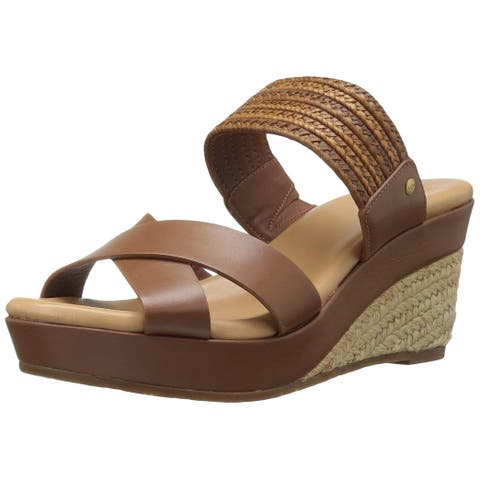 Ugg Womens Adriana Leather Open Toe Casual Espadrille Sandals