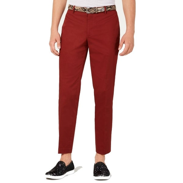 INC Mens Pants Red Size 38X32 Slim-Fit Straight-Leg Chino Stretch. Opens flyout.