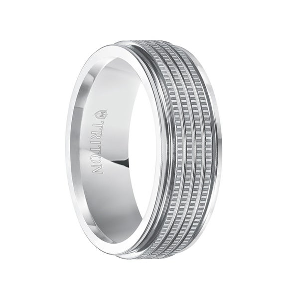 LEITH White Tungsten Carbide Flat Wedding Band with Multi Coin Edge Textured Center and Polished Rims by Triton Rings - 7.5 mm