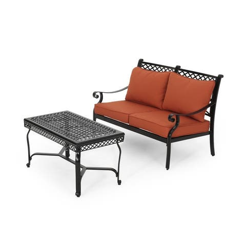 Westlake Outdoor Aluminum Loveseat and Coffee Table Set by Christopher Knight Home