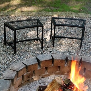 Sunnydaze Black Mesh Patio Fire Pit Benches - 23 x 16 Inch - Set of 2 Benches