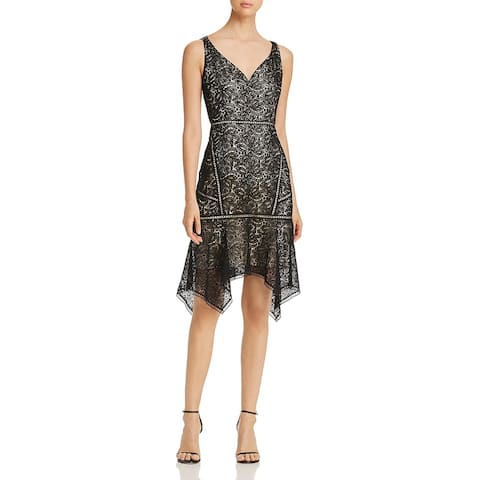 Elie Tahari Womens Mariya Cocktail Dress Lace V-Neck - Black