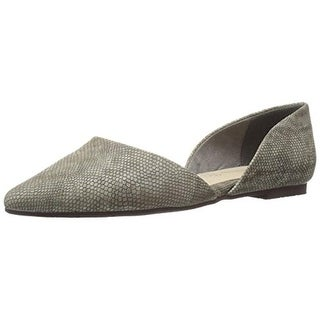 BC Footwear Womens Society Flats Embossed Pointed Toe Gray 9.5 Medium (B,M) - 9.5 medium (b,m)