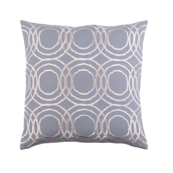 "22"" Storm Gray and Cream Chevron Decorative Throw Pillow - Down Filler"