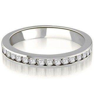 0 30 CT Stackable Round Diamond Channel Wedding Band In 14KT Gold
