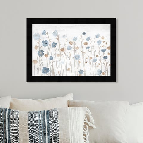 Oliver Gal 'Beautiful Growth Light Blue' Floral and Botanical Wall Art Framed Print Florals - Blue, Brown