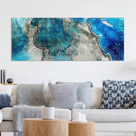 Subtle Blues B Abstract Wall Art Printed Tempered Glass & Silver Leaf