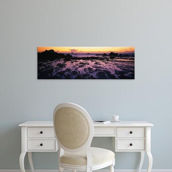 Easy Art Prints Panoramic Images's 'Beach at sunset, Del Norte County, California, USA' Premium Canvas Art