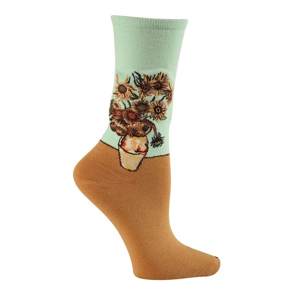 Women's Colorful Fine Art Socks - Sunflowers - Medium