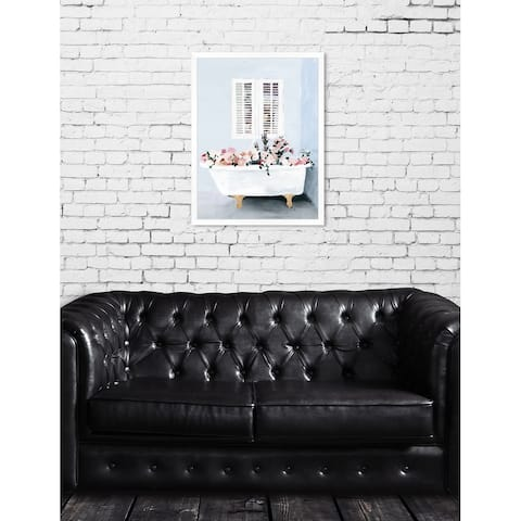 Oliver Gal 'Floral Tub' Floral Blue Contemporary Framed Wall Art Print