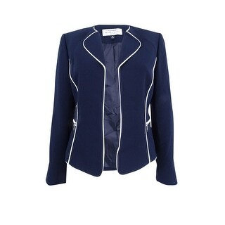 Tahari ASL Women's Petite Piped-Trim Blazer - navy/cloud