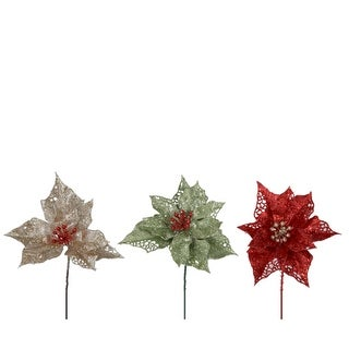 """Pack of 48 Red,Green & Gold Glittered Artificial Poinsettia Christmas Picks 6.5"""""""