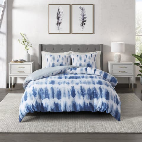 Tie Dye Blue Cotton Printed Comforter Set by CosmoLiving