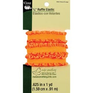 "Neon Orange - Ruffle Elastic 5/8""X1yd"