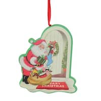 "4"" Decorative Retro Santa at Door Step Wooden Christmas Ornament"