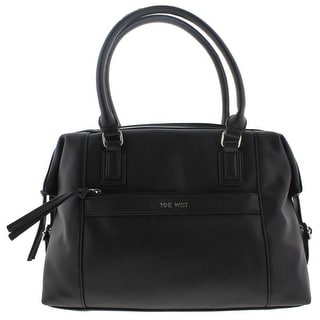 Nine West Womens Secret Zip Duffle Handbag Faux Leather Buckle - Black -  Large