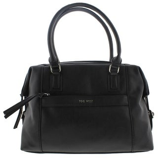Nine West Womens Secret Zip Faux Leather Buckle Duffle Handbag - Black - Large