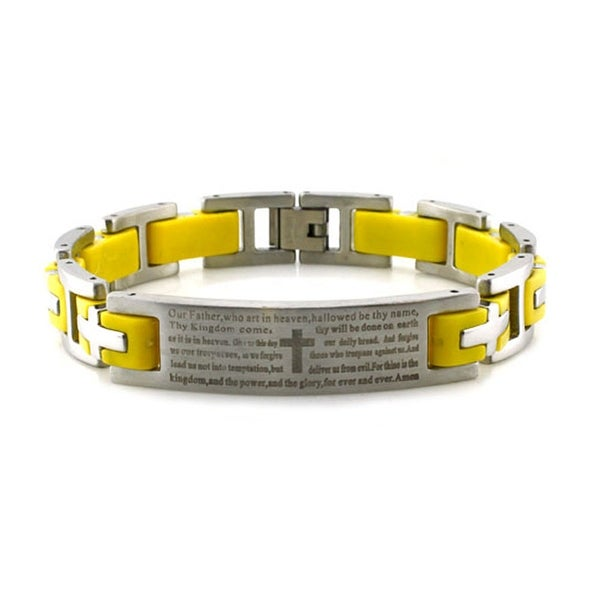 Stainless Steel Lord's Prayer Yellow Rubber Inlay Link Bracelet - 8.5 inches