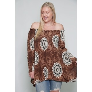 Women's Plus Size Off The Shoulder Sunflower Blouse Top 1X-3X (3 options available)
