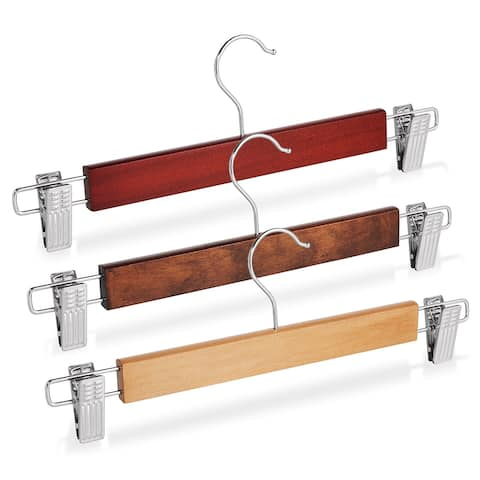 10 Wooden Hangers with Nonslip Clips by Casafield