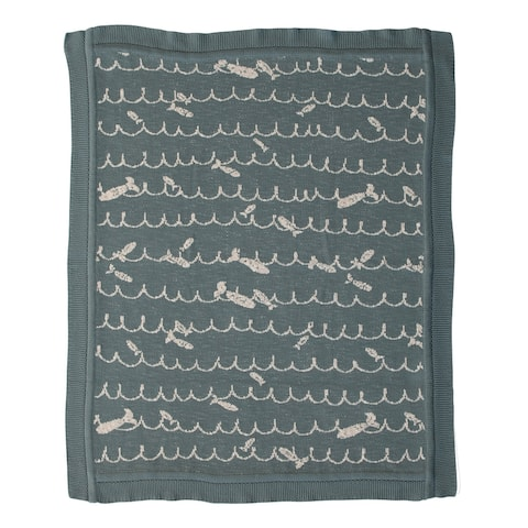 Cotton Knit Baby Blanket with Fish, Blue