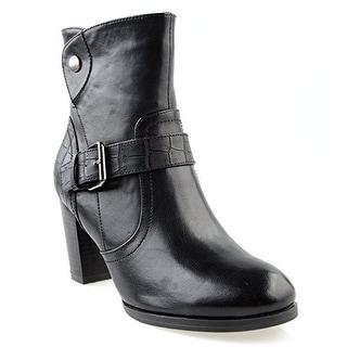 Eyekepper Women's Fashion Flannel Lining Belted Chunky Heel Side Zipper Stacked Ankle Booties Black