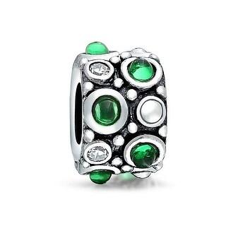Bling Jewelry 925 Silver Caviar Green CZ Bead Charm