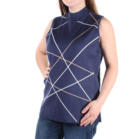 ALFANI Womens Blue Printed Sleeveless Turtle Neck Sweater Size: M