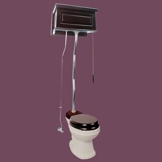 Dark Oak High Tank Z-Pipe Toilet Round Biscuit Bowl