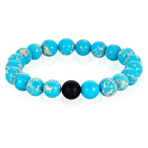 Men's Natural Stone and Matte Onyx Beaded Stretch Bracelet (10mm)