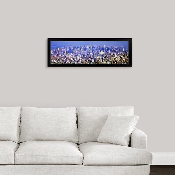 """""""Aerial view of a cityscape, Manhattan, New York City, New York State"""" Black Framed Print"""